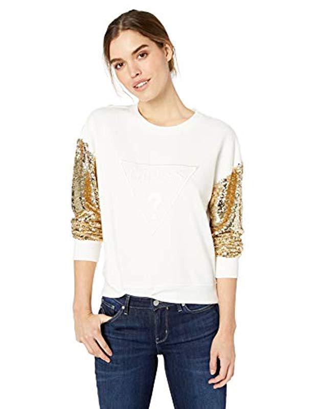 Lyst - Guess Long Logo Sequin Sleeve Sweatshirt in White e2545a22e5a