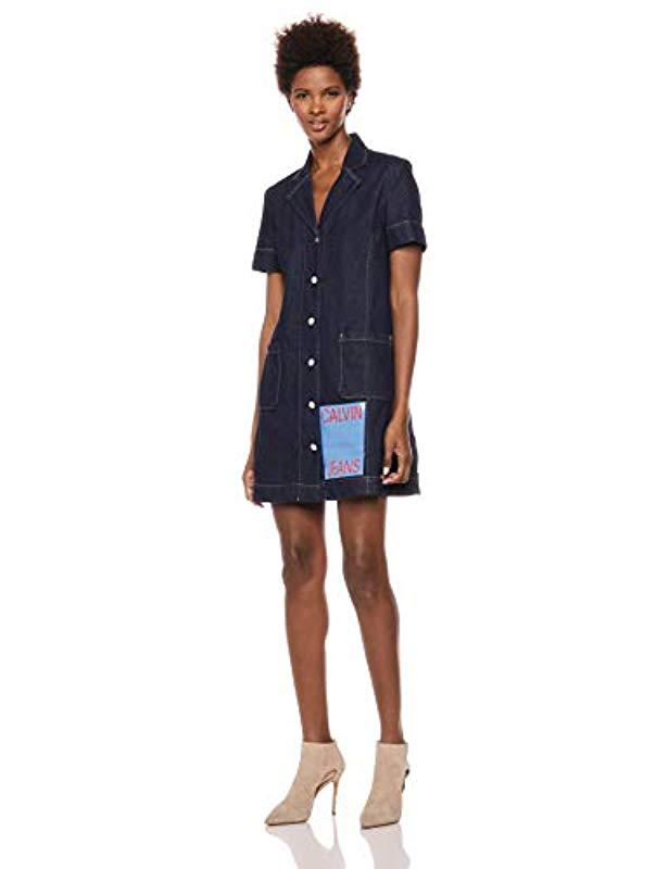 01fc9c64cf7 Lyst - Calvin Klein Short Sleeve Denim Dress in Blue