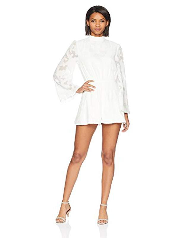 f85781a995b Finders Keepers. Women s White Midnight Lace High Neck Long Sleeve Open  Back Playsuit