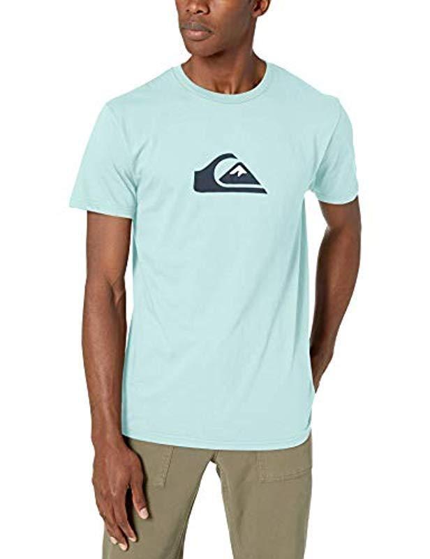 Pastel Turquoise QUIKSILVER Mens COMP Logo TEE L