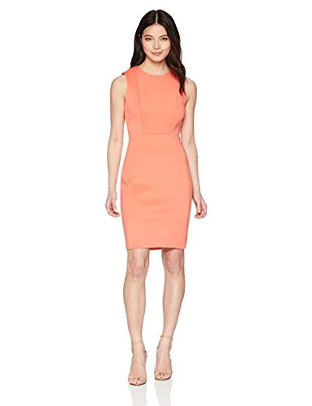 d5a44b50886 Calvin Klein. Women s Pink Petite Scuba Sleeveless Princess Seamed Sheath  Dress