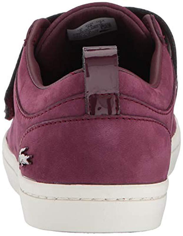 decf089ace851a Lyst - Lacoste Straightset Strap Sneaker in Purple