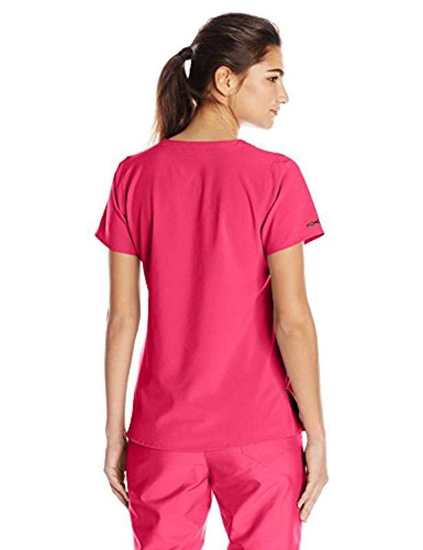 25c3fe0b79d Lyst - Carhartt Cross-flex Yneck Scrub Top in Pink