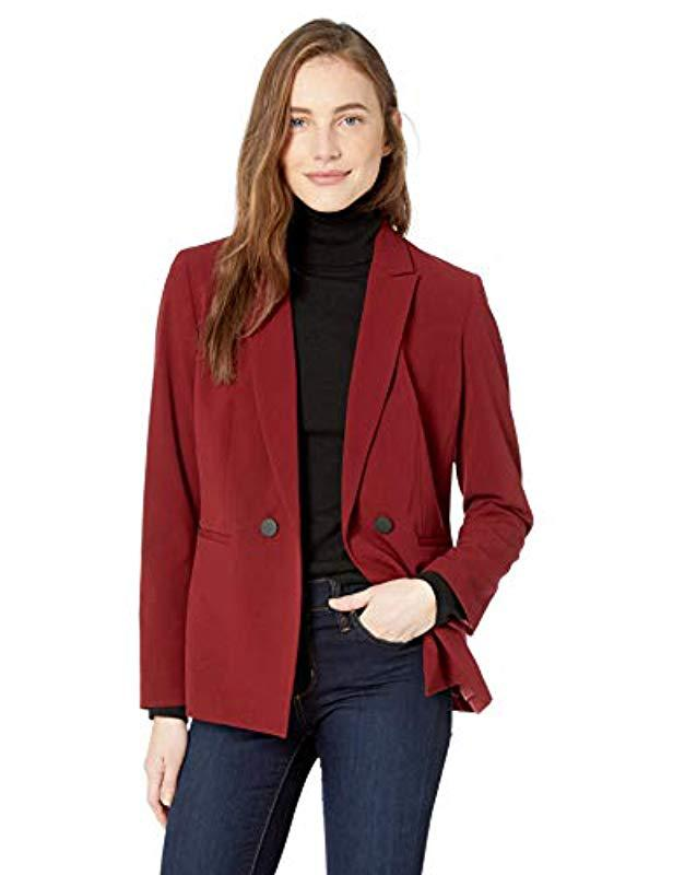 07afb4b8108 Lyst - Nine West 2 Button Peak Collar Double Breasted Jacket in Red