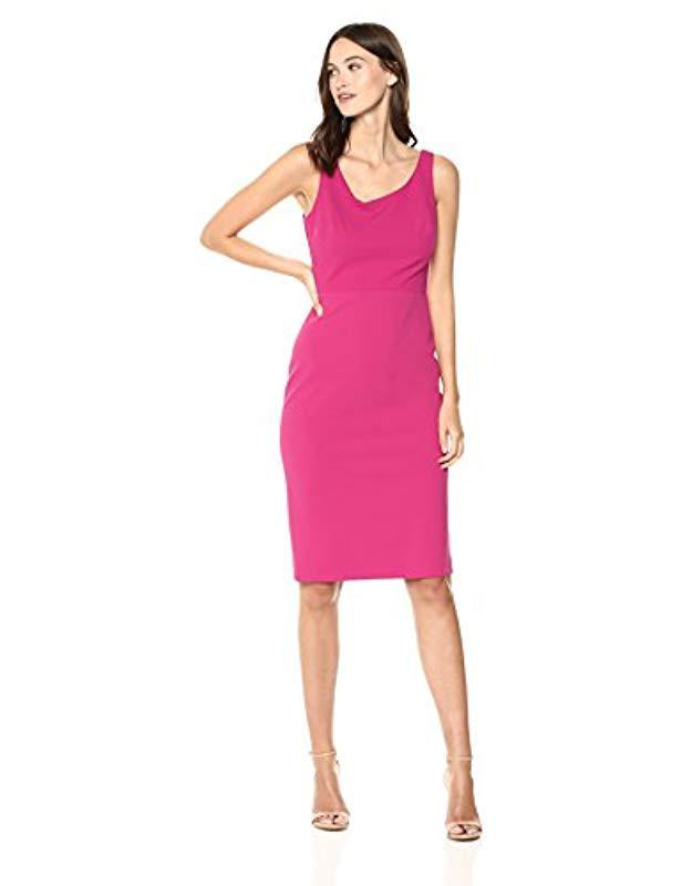 Lyst Betsey Johnson Scuba Crepe Midi Dress In Pink