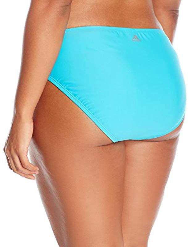 bc2626685dc2c Lyst - adidas Plus-size Solid Hipster Bikini Bottom in Blue - Save 45%