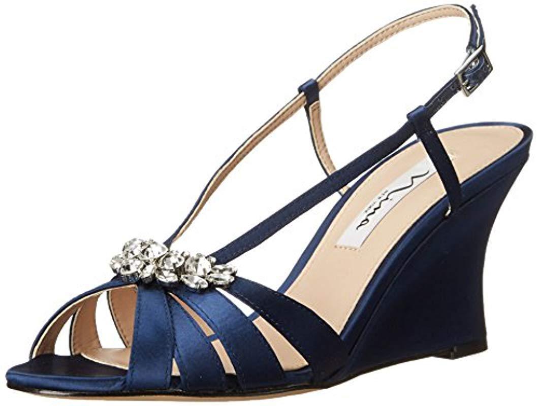 d4123bb988 Lyst - Nina Viani Wedge Sandal in Blue