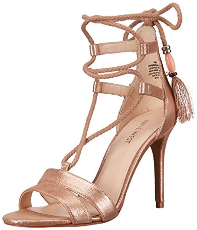 005cac5938c2 Lyst - Nine West Mangalara Metallic Dress Sandal in Pink