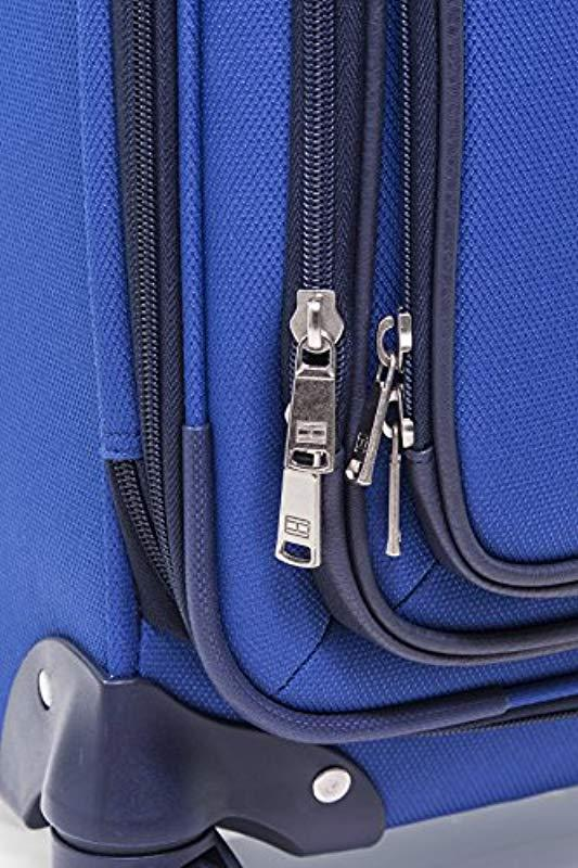 blue Tommy Hilfiger Signature Solid Expandable Spinner Luggage