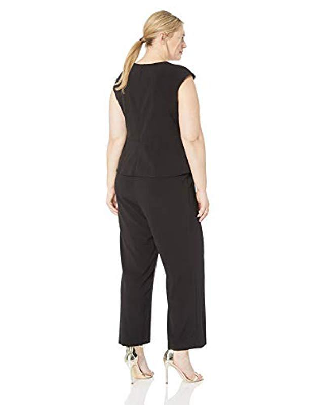 12a955e2508 Lyst - Vince Camuto Plus Size Extended Cap Sleeve Jumpsuit With Peplum in  Black