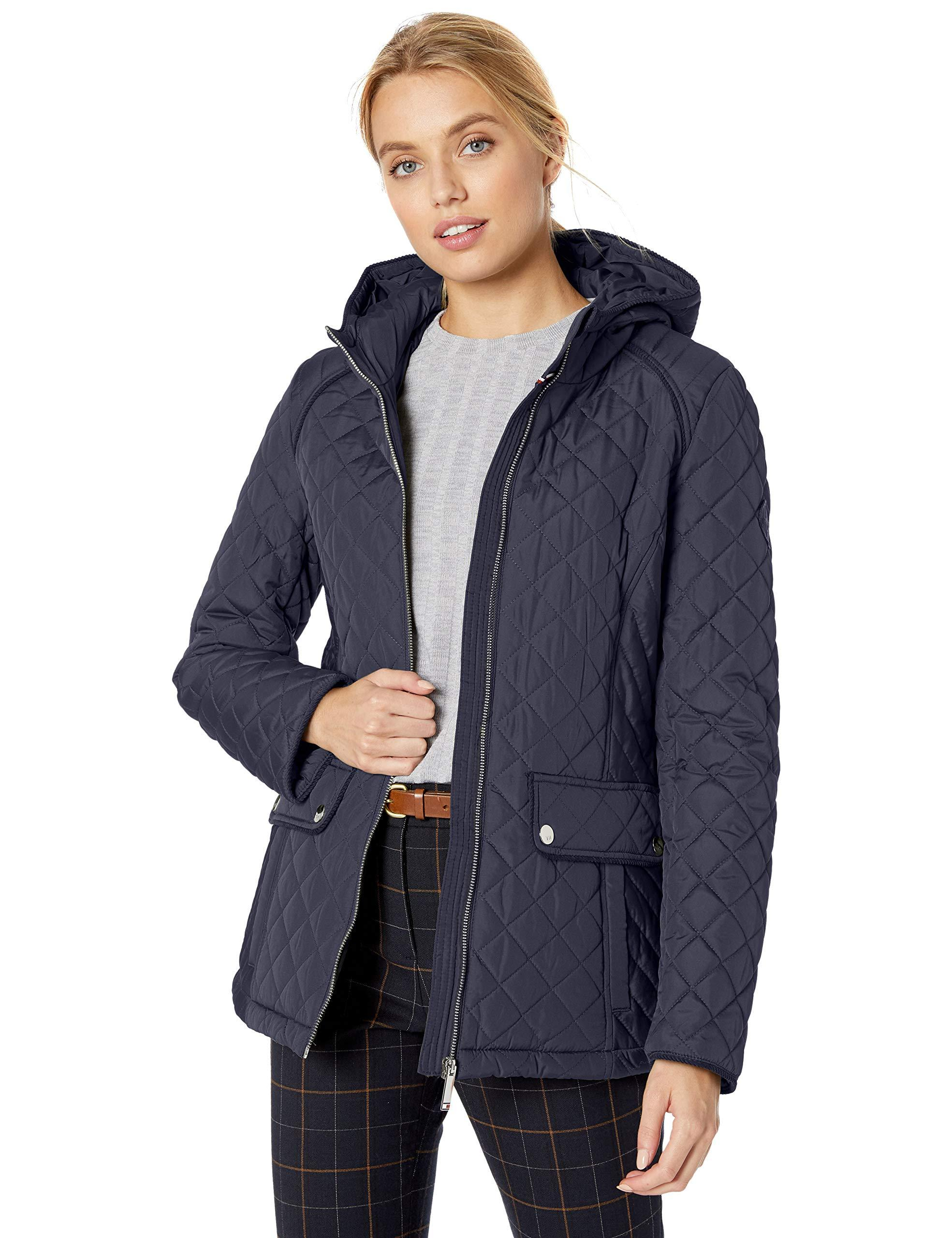 Tommy Hilfiger Corduroy Hooded Diamond Quilted Jacket in ...