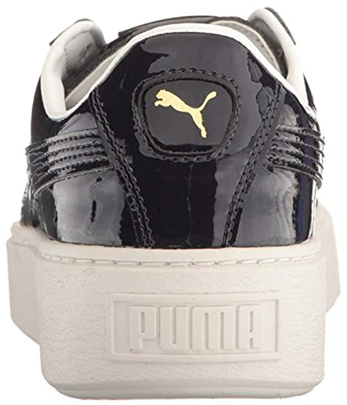 PUMA Black Basket Platform Patent Wn's Field Hockey Shoe Lyst