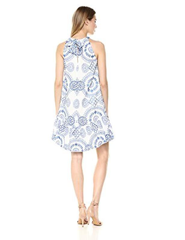 52433f7f503d4 Lyst - Trina Turk Trina Kori Halter Drop Flounce Midi Dress in Blue