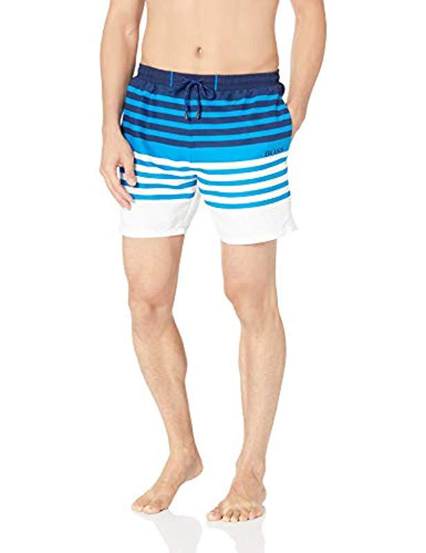 72f6d364c3 Lyst - BOSS Sandfish Striped Swim Trunk in Blue for Men - Save 61%