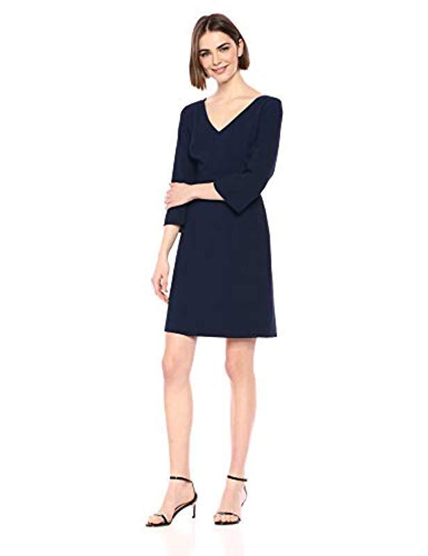 fd4240fbc3f76 Lyst - Trina Turk Noteworthy V Neck Shift Dress in Blue