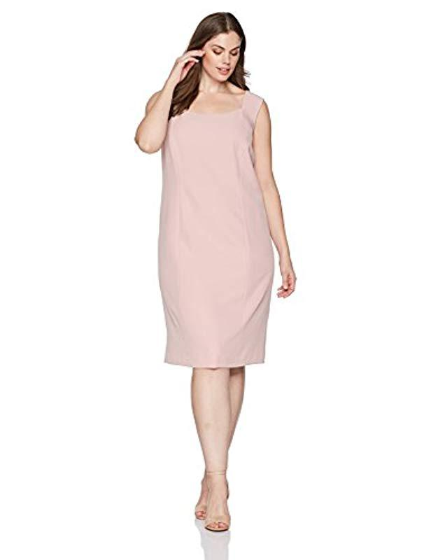 Lyst Kasper Plus Size Solid Crepe Dress With Flare Detail In Pink