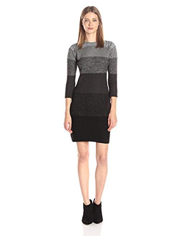 4f1b2621334 Lyst - Calvin Klein 3 4 Sleeve Heathered Cable Sweater Dress in Black