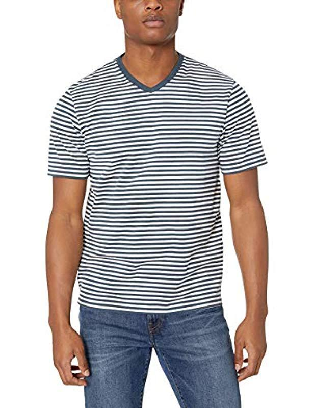 ac0d248f Lyst - Amazon Essentials Loose-fit Short-sleeve Stripe V-neck T-shirts in  Blue for Men