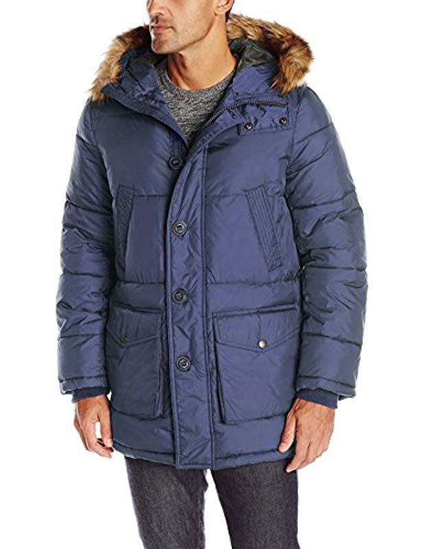 7f6ef9509e813 Tommy Hilfiger. Men s Blue Full Length Nylon Quilted Snorkel Coat With  Removable Faux Fur Trimmed Hood