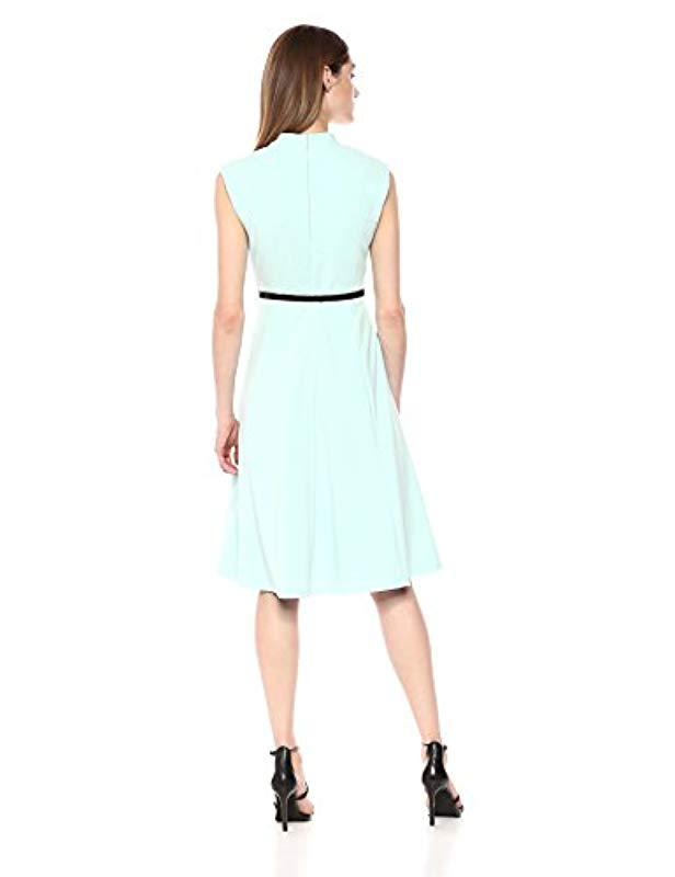 b275da43a9 Lyst - Calvin Klein Solid Belted Fit And Flare Dress in Blue