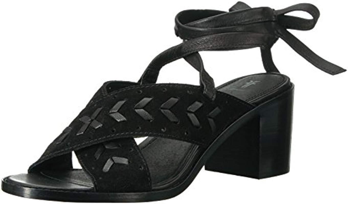 96f142ea6d89 Lyst - Frye Bianca Woven Perf Ankle Strap Heeled Sandal in Black ...