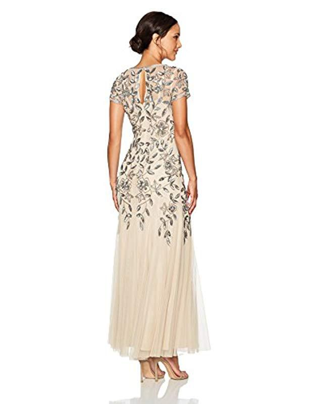 Lyst Adrianna Papell Petite Floral Beaded Godet Gown