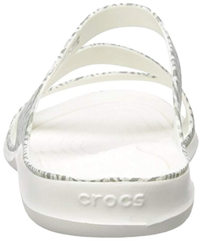 f74b88f3fb62 Lyst - Crocs™ Swiftwater Graphic Sandal in White - Save 4%