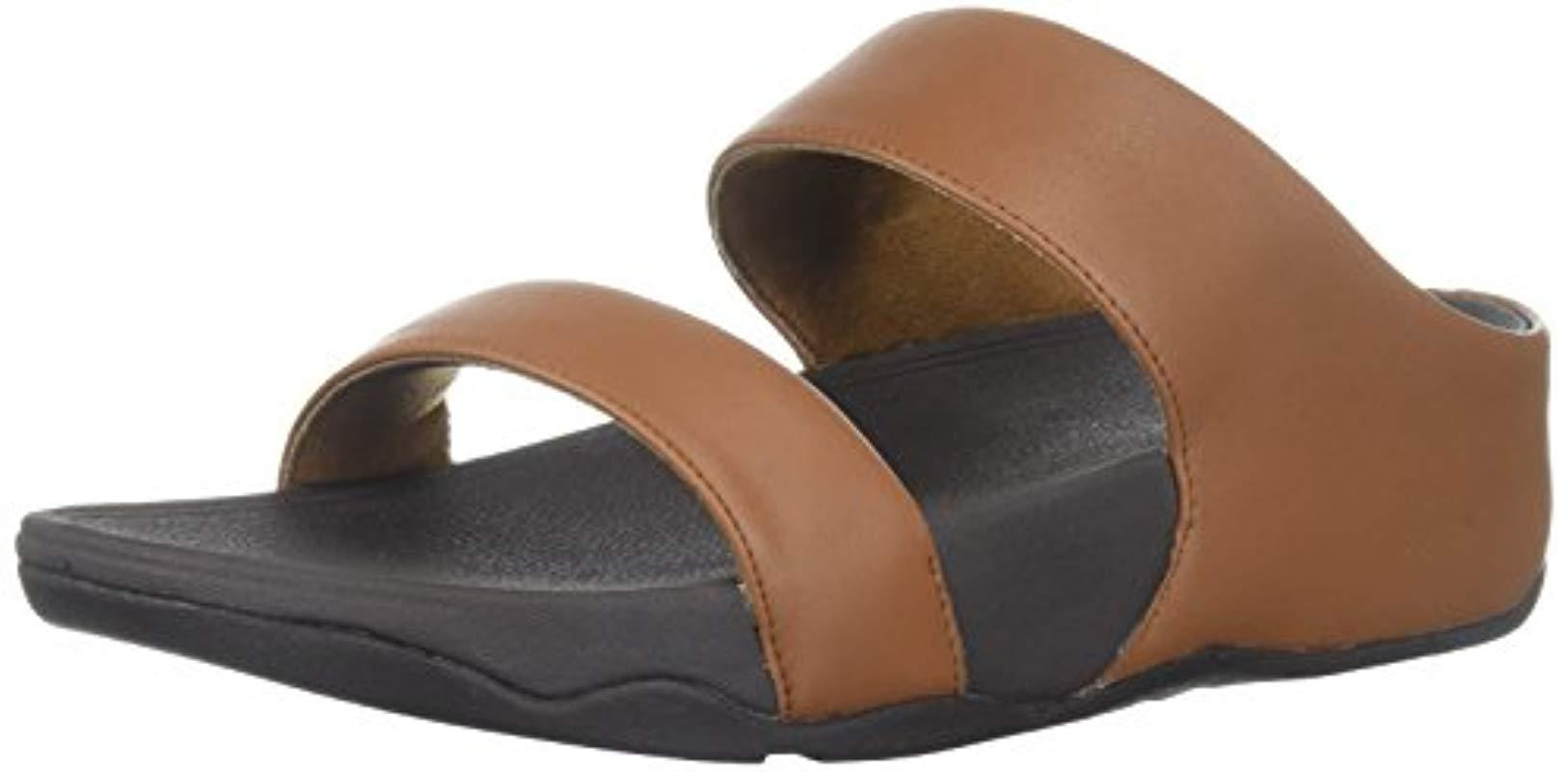 7d35bbd84beebc Lyst - Fitflop Lulu Leather Slide Sandal in Brown