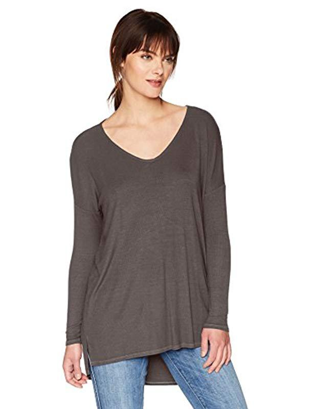 f5cccd40ee6 Lyst - Michael Stars 2x1 Rib Long Sleeve Wide V-neck Hi-low With ...