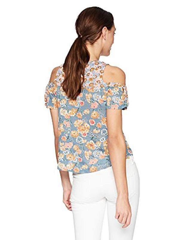 7df4d6a0ab33b Lyst - Lucky Brand Floral Print Cold Shoulder Tie Top in Blue - Save  55.932203389830505%