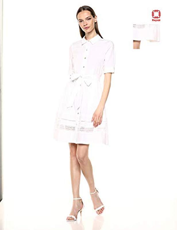 20f26407d589 Lyst - Calvin Klein Three Quarter Sleeve A Line Shirt Dress With ...