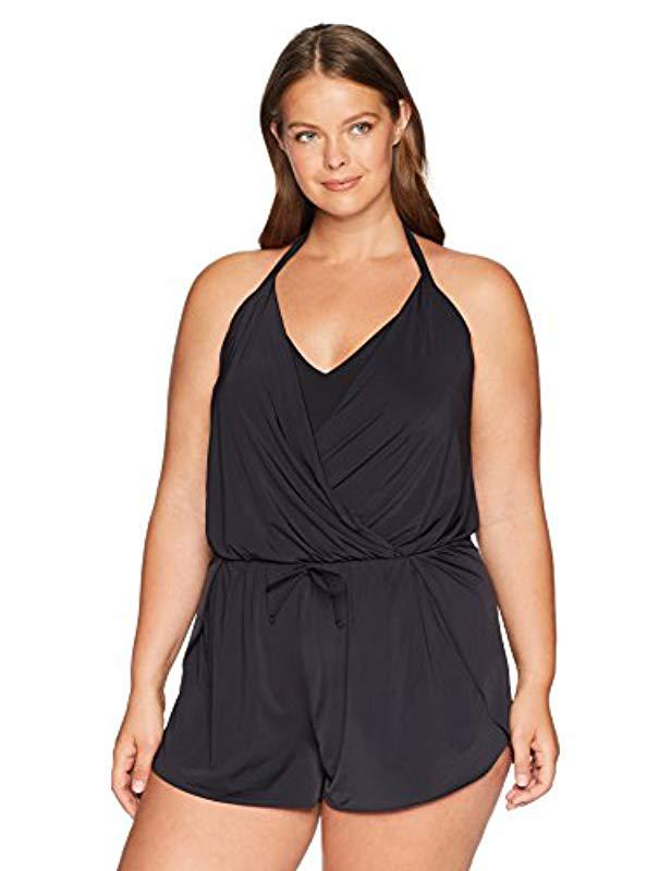 79d688ffee710 Kenneth Cole Reaction. Women s Black Plus-size V-neck One Piece Romper  Swimsuit