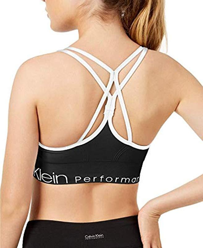 170c6fef7c1 Calvin Klein Performance Ruched Front Strappy Sports in Black - Save 23% -  Lyst