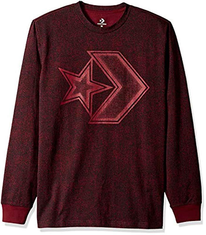 4565d2f345d9 Lyst - Converse Distressed Star Chevron Long Sleeve T-shirt for Men