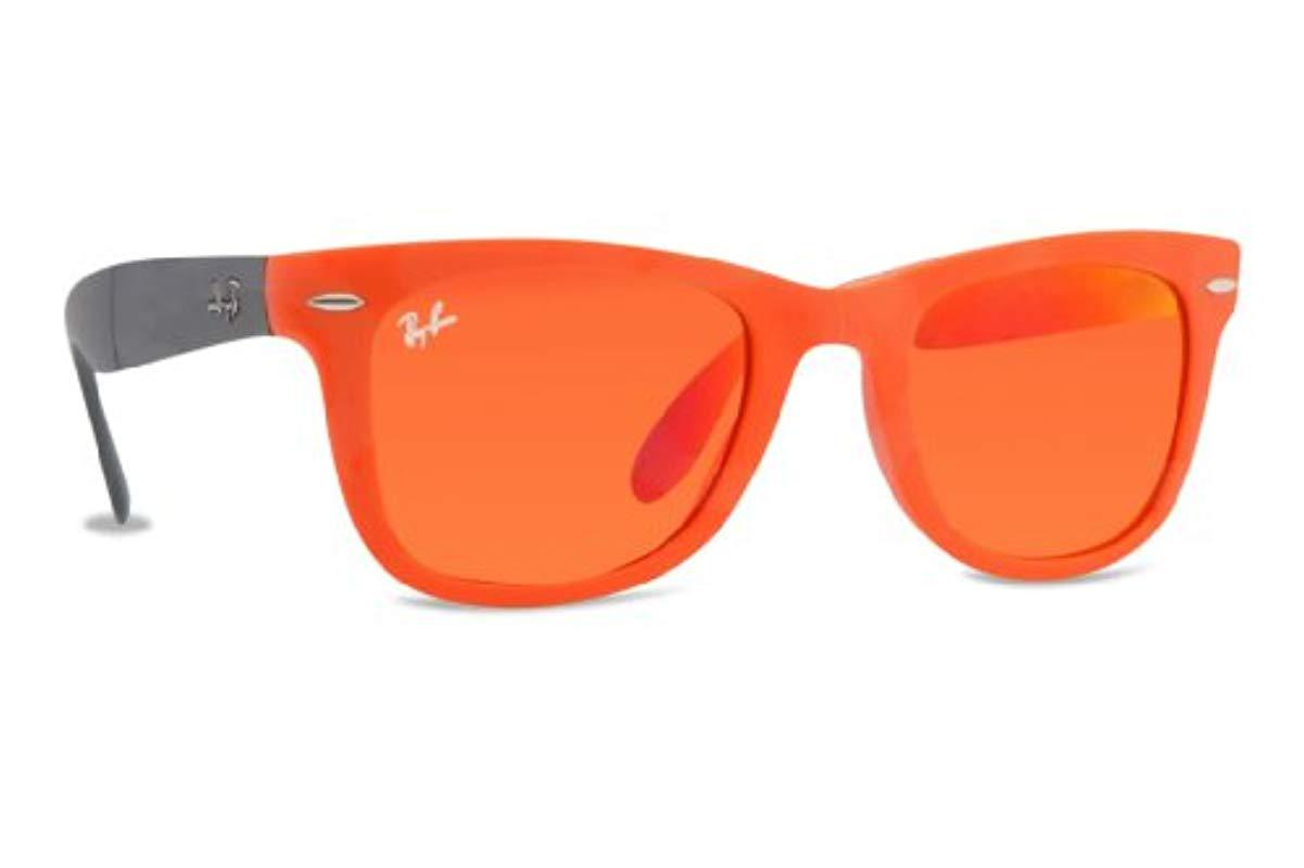 219ec4b177 Lyst - Ray-Ban Rb4105 Folding Wayfarer Sunglasses in Orange
