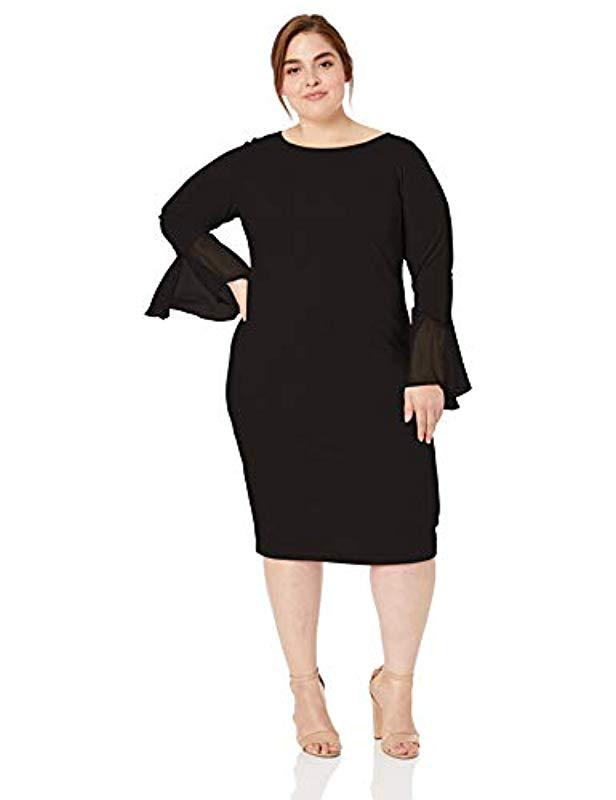 615a4a626f5 Calvin Klein. Women s Black Plus Size Solid Sheath With Chiffon Bell  Sleeves Dress