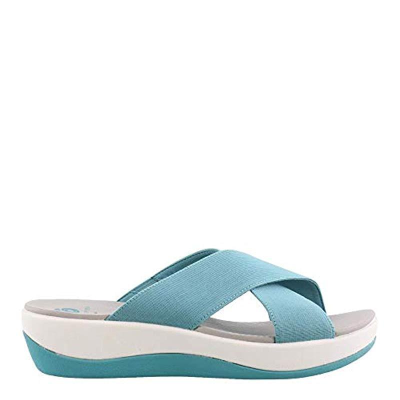 b1e8d77f119 Lyst - Clarks Arla Elin Slide Sandal in Blue