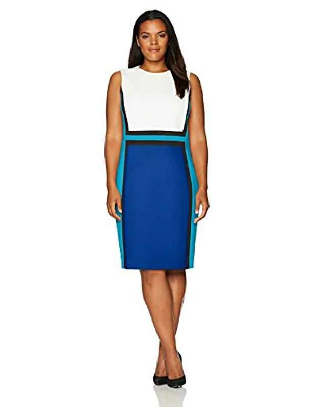 6c12ba22c3b Lyst - Calvin Klein Plus Size Sleeveless Color Block Sheath Dress in ...