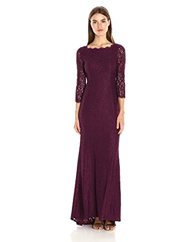 Lyst - Adrianna Papell Long Sleeve Lace Gown in Purple