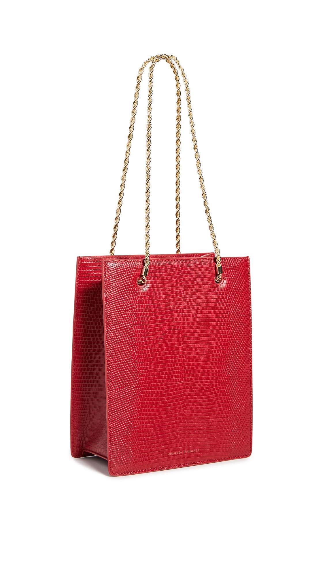 Loeffler Randall Leather Antoinette Shopper Tote in Crimson