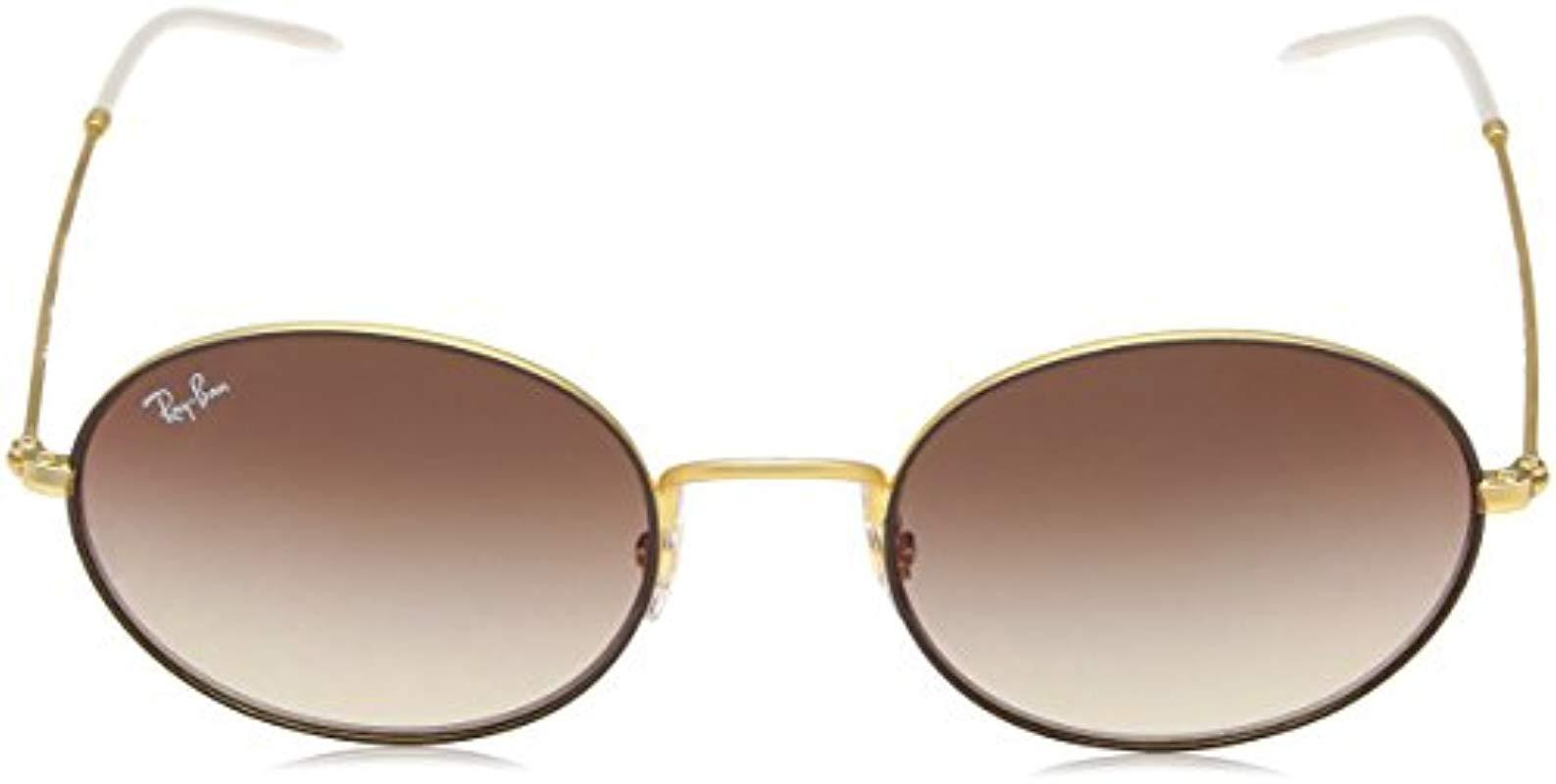 6bf097618 Ray-Ban. Women's 0rb3594 Non-polarized Iridium Oval Sunglasses, Rubber Gold  On Brown, 53 Mm