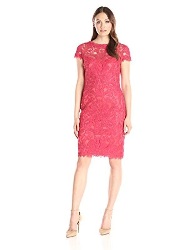 6c83945e3be7 Lyst - Tadashi Shoji Corded Lace Cap-sleeve Dress in Red