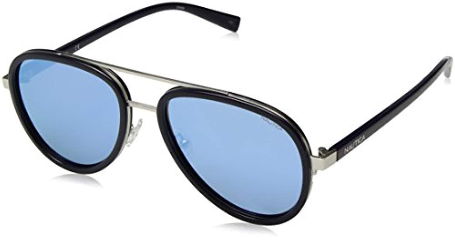 c425b2dc6e Lyst - Nautica N4627sp Polarized Aviator Sunglasses Navy 57 Mm in ...