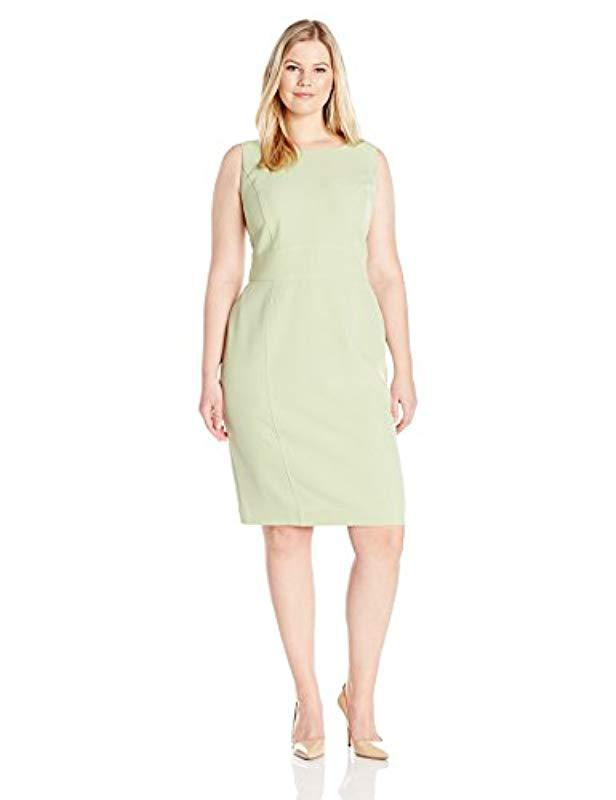 Lyst Kasper Plus Size Short Sleeve Solid Dress With Seaming In Green