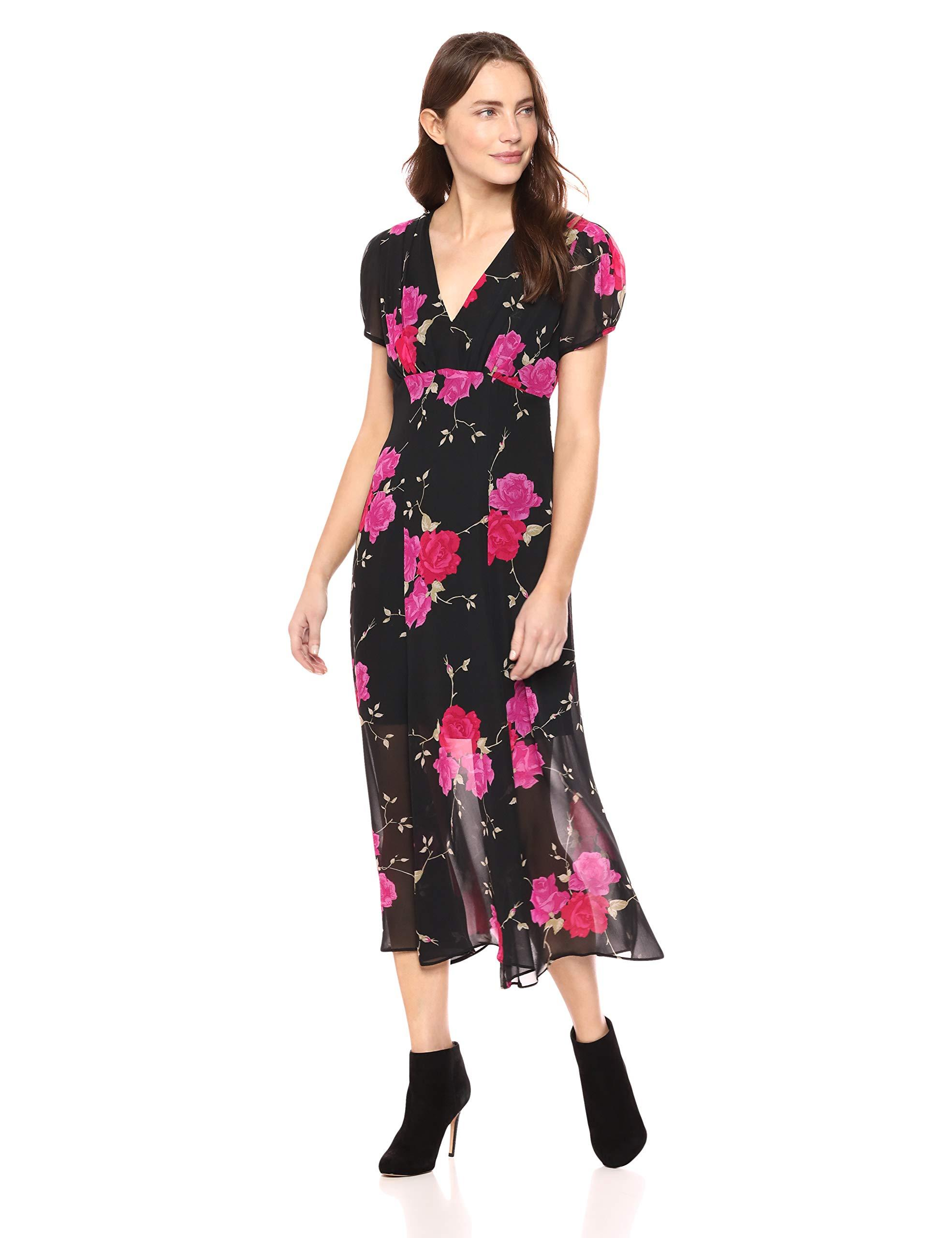 Betsey Johnson Womens Floral Print Pleated Dress Black//Red//Yellow 4