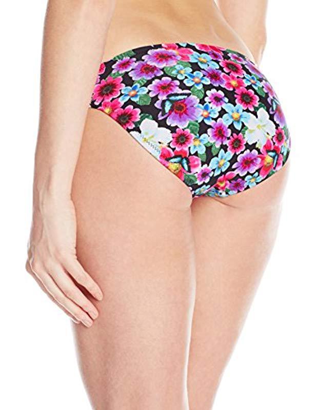 fc50c52381e40 Lyst - Jessica Simpson Botanica Side-shirred Hipster Bikini Bottom in Black  - Save 26%