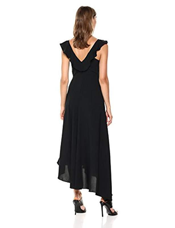968b3586662b Lyst - C meo Collective Questions Ruffle Sleeve Scoop Neck Gown With Slit  in Black - Save 75%