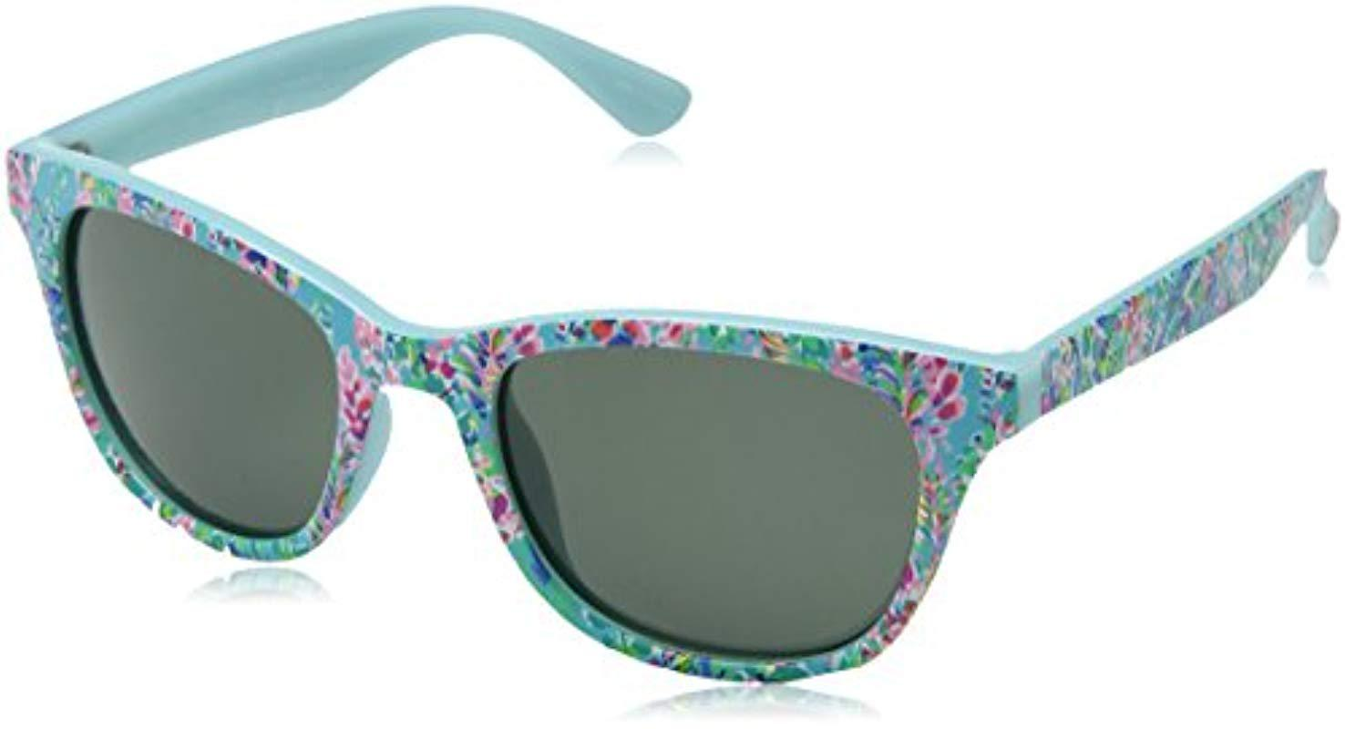 436dd09087 Lilly Pulitzer. Women s Blue Maddie Polarized Square Sunglasses Catch The  ...