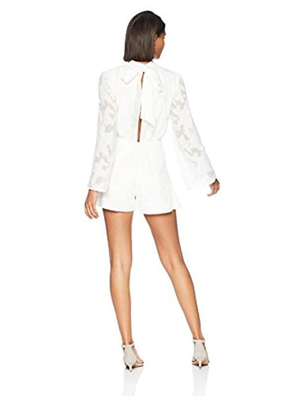 e601329acb4 Lyst - Finders Keepers Midnight Lace High Neck Long Sleeve Open Back  Playsuit in White - Save 20%