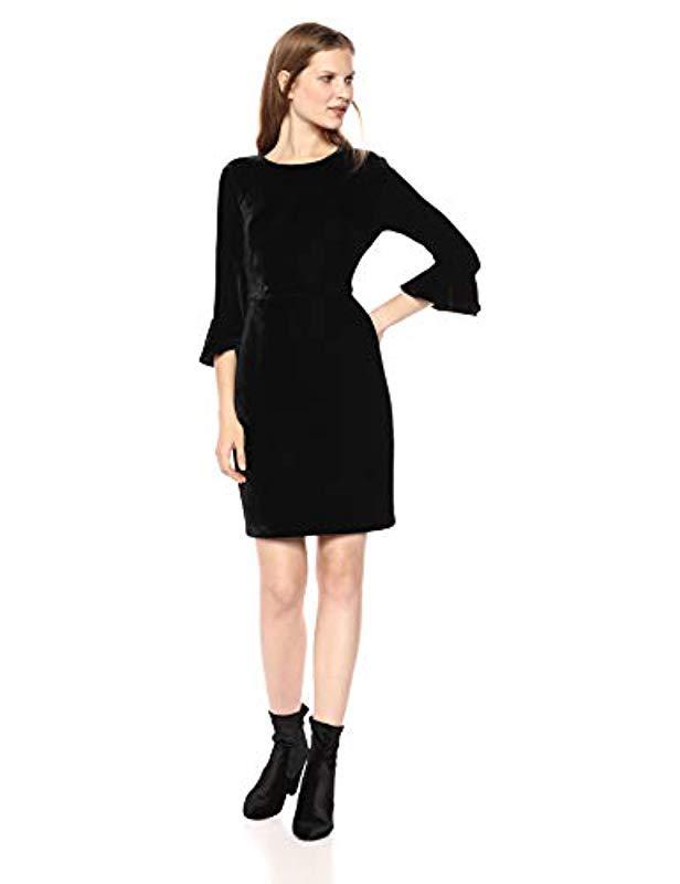 56bea073062d Donna Morgan. Velvet 3 4 Bell Sleeve Sheath Dress W  Bow Detail (black) Women s  Dress